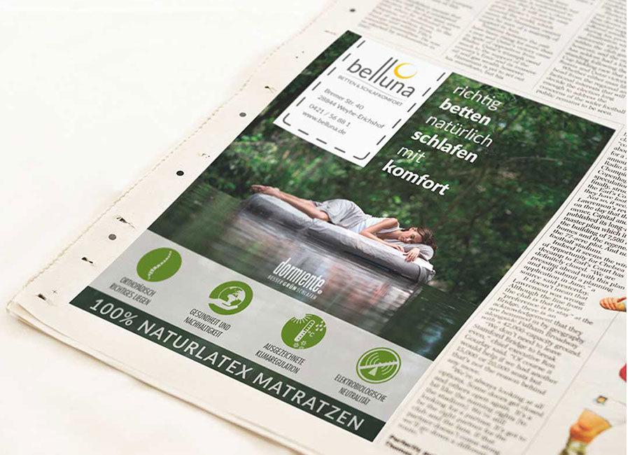 Werbeagentur Bremen Zeitungsanzeige von Belluna