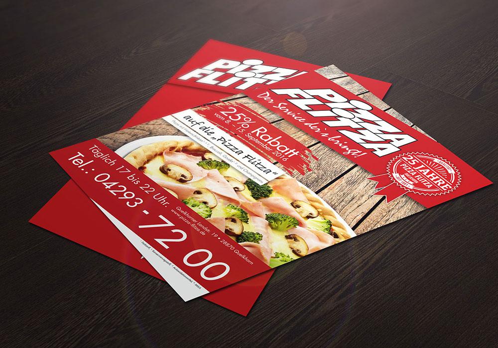Werbeagentur Bremen Flyer von Pizza Flitza