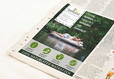 Werbeagentur Bremen Zeitungsanzeige von Belluna Betten