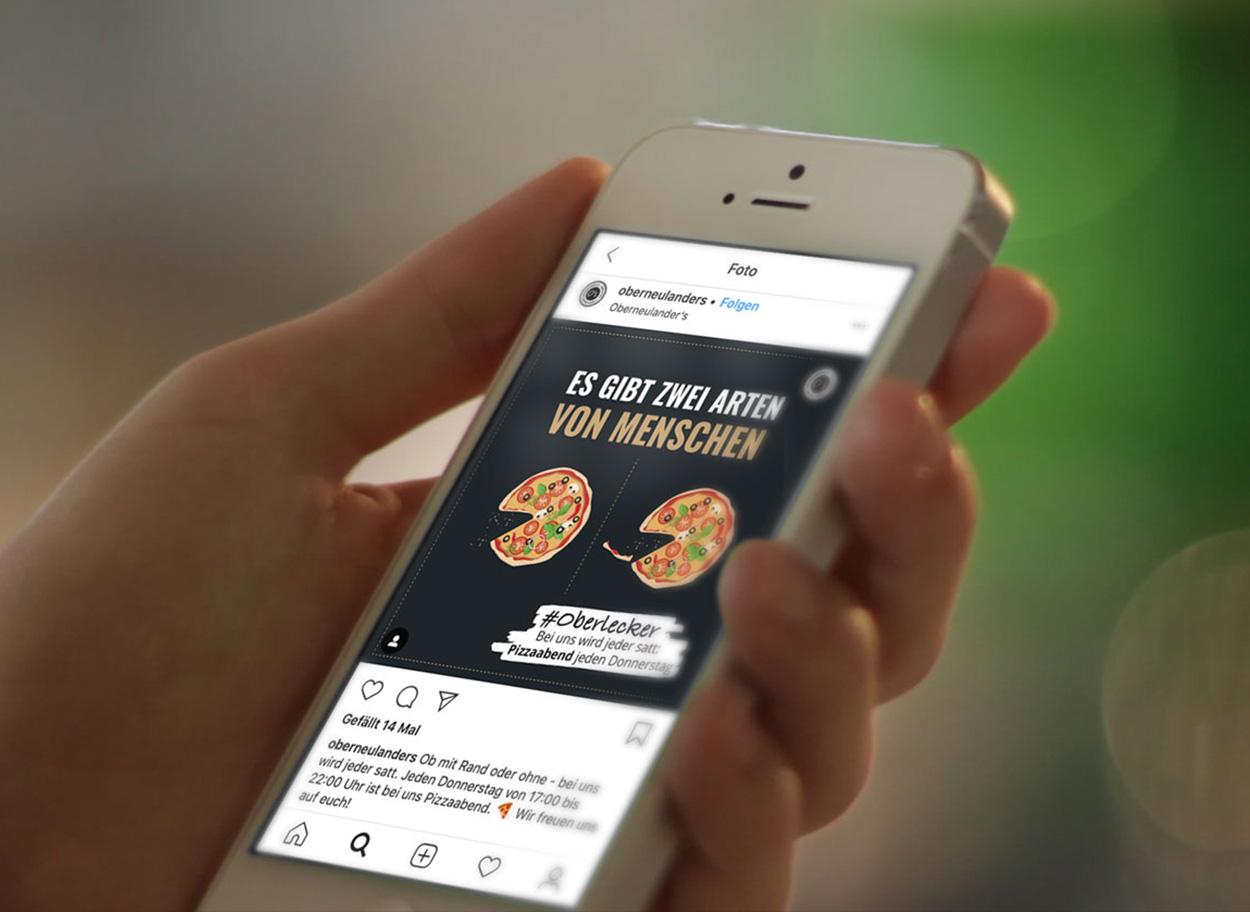 Werbeagentur Bremen Social Media Posting des Restaurants Oberneulanders auf einem Smartphone